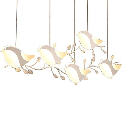Familiehanglamp voor de slaapkamer, decoratie van zout van ijzer + acryl creatief van de vogel Cinque-Testa Chandelier Aisle Restaurant Home lampade, wit