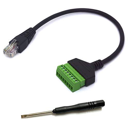 HTGuoji RJ45 Morsetto a vite, Ethernet RJ45 maschio spina a 8 pin vite morsettiera adattatore cavo di estensione per Cat7 6 5 CCTV AV DVR UTP Network(RJ45 maschio)