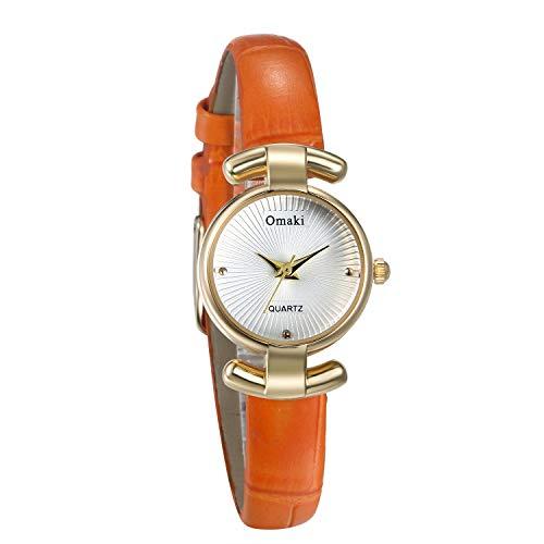 JewelryWe Damenuhr Elegant Analog Quarz Armbanduhr 30M wasserdichte Beiläufige Uhr mit Echtleder Leder Armband für Frauen Mädchen Orange