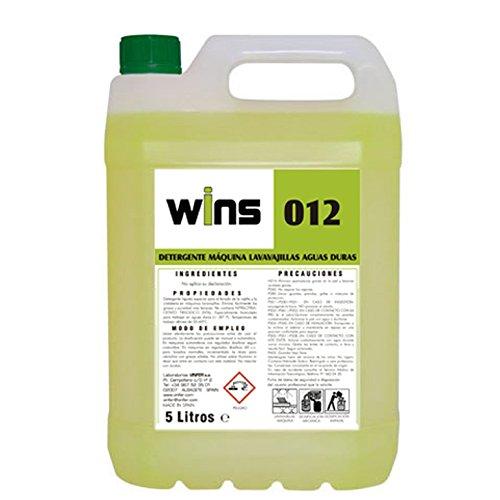 VINFER Detergente máquinas lavavajillas Aguas duras Wins 012. Envase 5 litros. Detergente líquido Especial para el Lavado de la vajilla y de Alto Poder desengrasante.