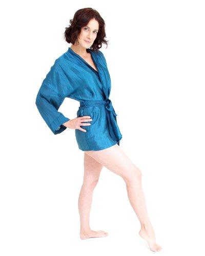 The House of Silk Court mélange de soie kimono - Taille: XL-XXL - couleur: bleu