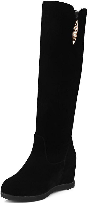 DecoStain Women's Classics Rhinestone Charm Solid Increased Internal Round Toe Boots