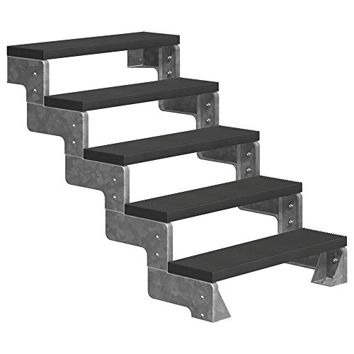 DOLLE Außentreppe Gardentop mit 5 Stufen | Geschosshöhe 90-110 cm │ Trimax® Stufenauflage Anthrazit │ Stufenbreite: 80 cm | ohne Steiggeländer