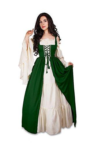 Mythic Renaissance Medieval Irish Costume Over Dress & Cream Chemise Set (S/M, Hunter Green)
