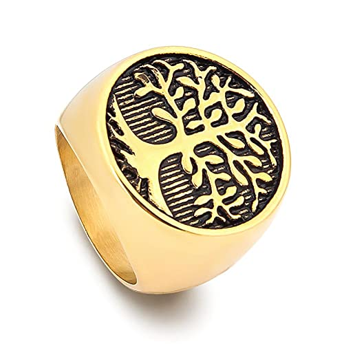 BAVIPOWER Celtic Tree of Life Signet Ring Goldtone Stainless Steel Jewelry Protection Eternity Amulet for Men Women