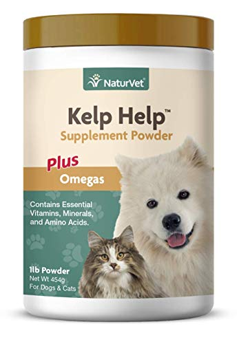NaturVet – Kelp Help Supplement Powder - Plus Omegas – Supports Healthy Skin & Glossy Coat – Enhanced with Essential Vitamins, Minerals & Amino Acids – for Dogs & Cats (1 lb Powder)