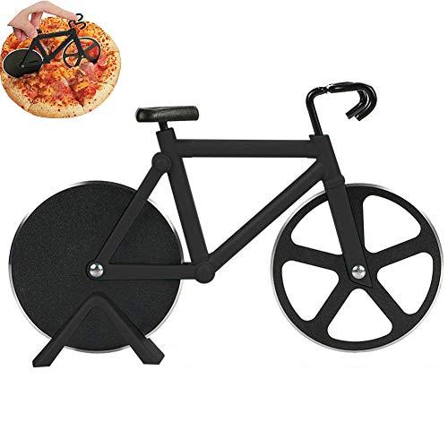 BONHHC Pizzaschneider Fahrrad Pizzaschneider/Edelstahl Doppel Pizza Schneider/Rostfreier Stahl/Geeignet für Haus und Küche/Schwarz
