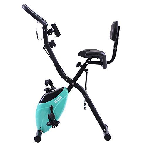 jeerbly G500 - Bicicleta de ejercicio plegable para interior y entrenamiento cardiovascular en casa, con volante y bandas de resistencia de brazo