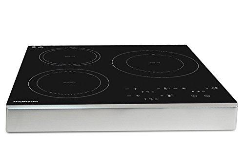 THOMSON Mobile Kochplatte Induktion (3 Kochfelder) - Induktionskochfeld mit 10 Stufen & 180 Minuten Timer, 3400 Watt Leistung & Überhitzungsschutz, Induktionskochplatte mit Touch-Bedienung
