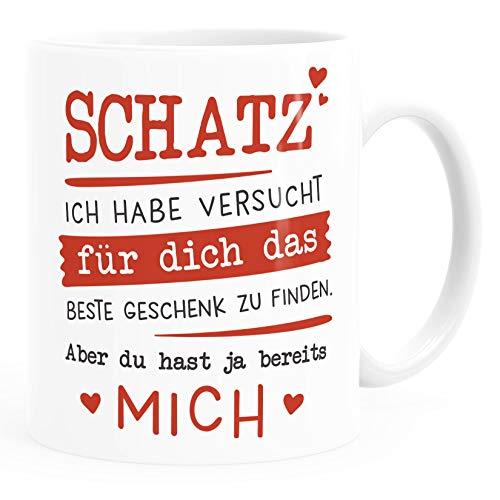 Moonworks® Kaffee-Tasse Schatz ich habe versucht für dich das beste Geschenk zu finden Geschenkidee Liebe weiß Keramik-Tasse