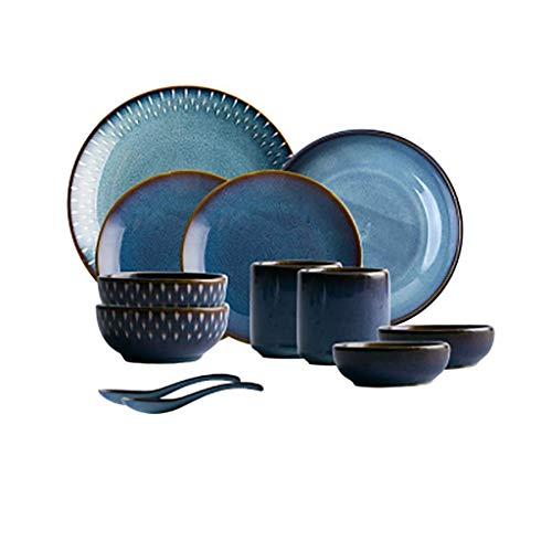 WJSW Retro Keramikgeschirr, Geschirrset 12-TLG, Blau