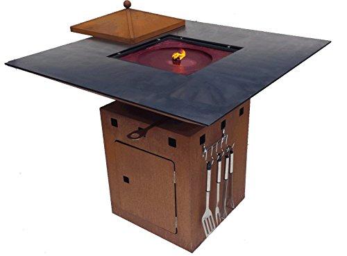Remundi Nero Cube Grill Feuerstelle mit Grillplatte optionales Zubehör Feuerkorb Feuerschale