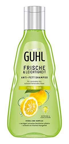Guhl Frische & Leichtigkeit Anti-Fett-Shampoo - 250 ml - Befreit fettiges Haar - Verzögert schnelles Nachfetten