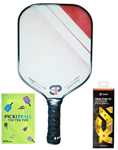Engage Encore Pro Pickleball Paddle & Onix 3-Pack Fuse G2 Pickleball Balls & Pickle Ball Tips Sheet - Premier Pickleball Set - Racket and Balls for Beginner and Pro Players (Red Fade)