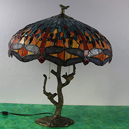 AWCVB Tiffany Style Table Lamp Next To Lamps Lampshade Retro Dragonfly In Stained Glass 2 Light Resin Base Antique Desktop Luminaires
