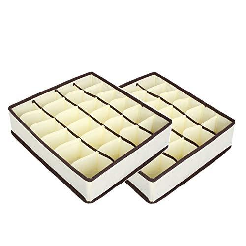 2PCS Organizador Cajones, 24 Celdas Plegable Ropa Interior Cajas de Almacenamiento para almacenar Calcetines, Sujetador, Bufandas (Beige)
