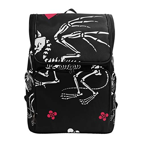 LISNIANY Computer Bag,Seamless Pattern Skeleton Gryphon Bones Hearts,Large Capacity Backpack,Travel Backpack,Schoolbag