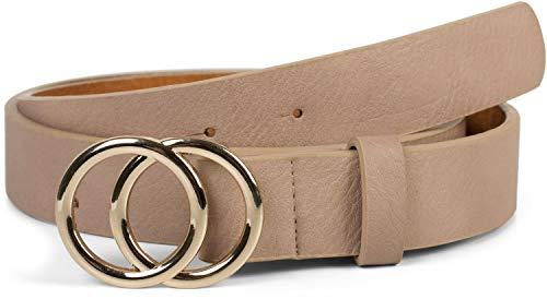 styleBREAKER Damen Gürtel Unifarben mit Ringschnalle, Hüftgürtel, Taillengürtel 03010093, Größe:85cm, Farbe:Beige-Gold