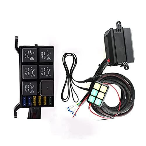 LiCHANGZHU LCBIAO® 6posición pulsador botón Interruptor Panel de relé electrónico Sistema de Control de Circuito de Circuito Impermeable Fusible relé Caja de cableado arnés Conjunto (Color : B