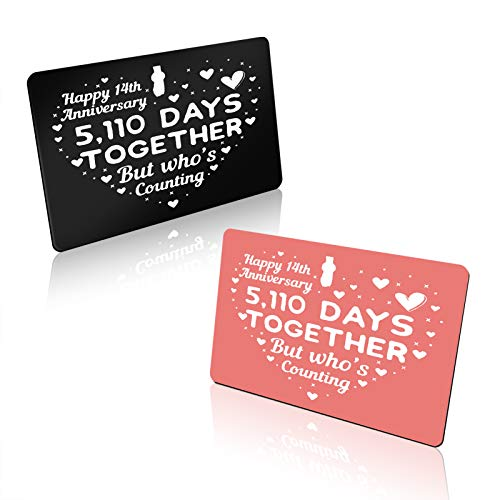 14th Anniversary Card Gifts for Him and Her Engraved Wallet Card Insert Happy 14th Anniversary Card for Couple 14 Year Wedding Anniversary Card Gifts for Husband Wife