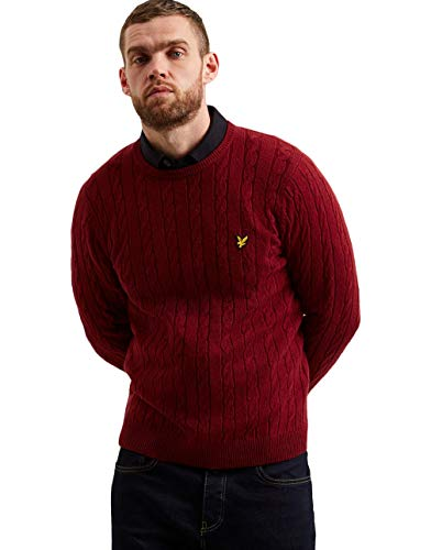 Lyle & Scott | KN732V Cable Knit Jumper Small Burgundy