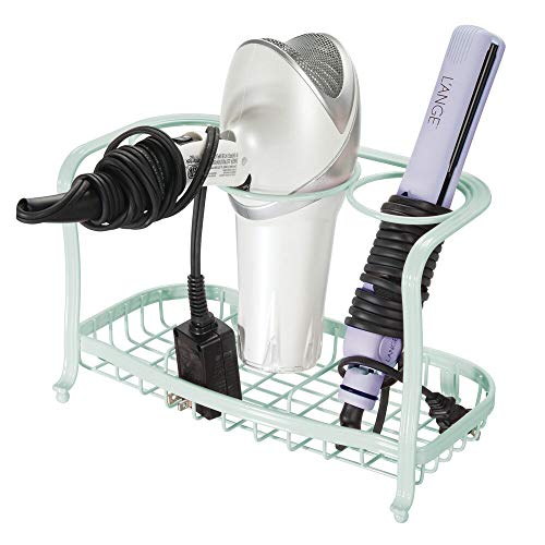 mDesign Metal Hair Care & Styling Tool Organizer Holder - 3 Sections - Bathroom Vanity Countertop Storage for Hair Dryer, Flat Irons, Curling Wands, Hair Straighteners - Mint Green