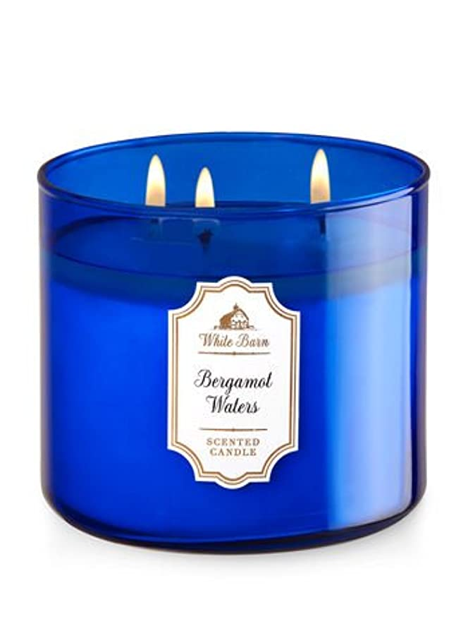 置換スキッパー後方に【Bath&Body Works/バス&ボディワークス】 アロマキャンドル ベルガモットウォーター 3-Wick Scented Candle Bergamot Waters 14.5oz/411g [並行輸入品]