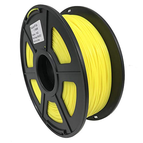 Superfila Flexible TPU 3D Printer Filament for CR-10S,Ender 3/Ender 3 Pro, Dimensional Accuracy +/- 0.03 mm, 1 kg Spool, 1.75 mm, Yellow