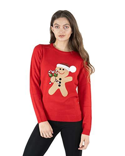 NOROZE - Maglione natalizio da donna lavorato a maglia Canna di pan di zenzero rosso 44