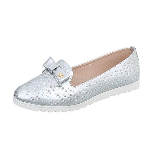 Ital-Design Slipper Damen-Schuhe Slipper Slipper Halbschuhe Silber, Gr 38, J832F-