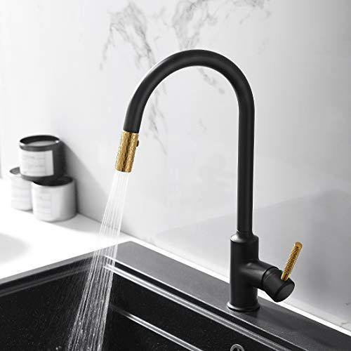 QD Wasserhahn Küche Gold Schwarz Mischbatterien fuer Kueche Armatur Einhandmischer für Küchen Spüle Küchenspüle Spülbecken