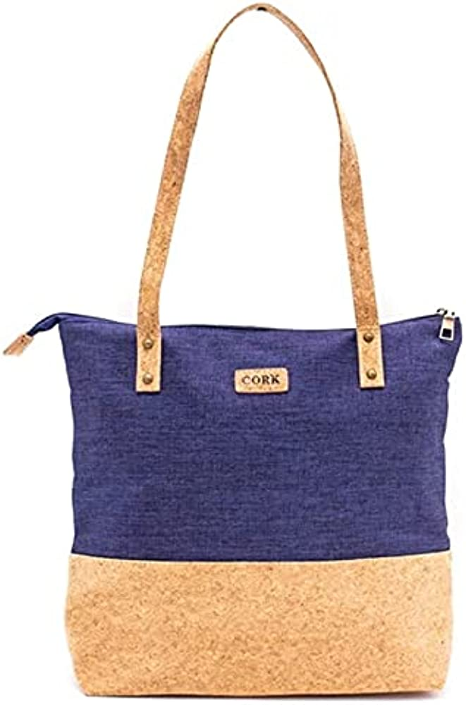 Only50, borsa tote a spalla da donna, in sughero e tessuto, vegana ed ecologica