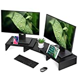 FITUEYES Dual Monitor Stand Wood Black Swivel Length Adjustable with Holding Slot