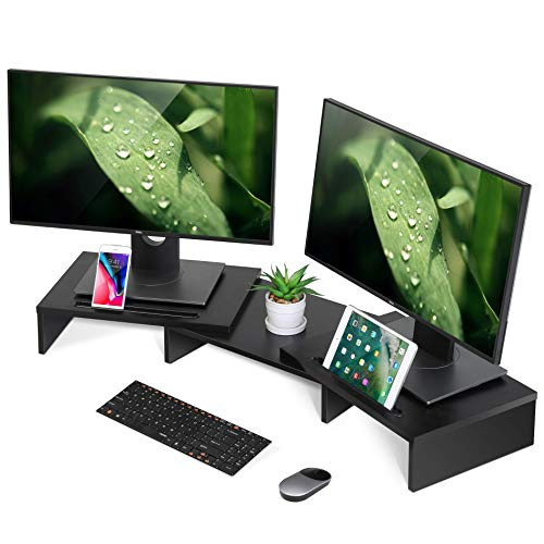 FITUEYES Dual Monitor Stand Wood...