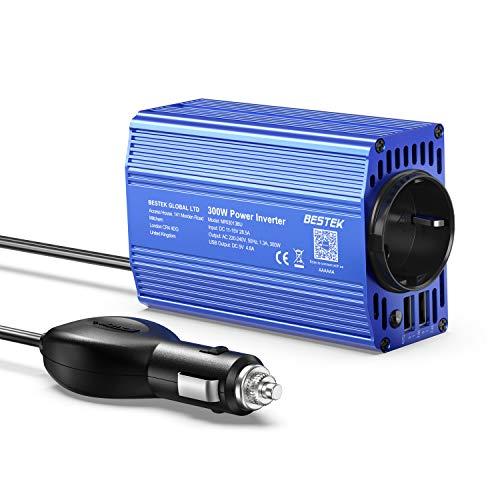 Spannungswandler 12v 230v / 300W Wechselrichter/BESTEK Stromwandler 12 auf 230 Inverter/mit 2 USB Anschlüsse inkl. Kfz Zigarettenanzünder Stecker,Blau