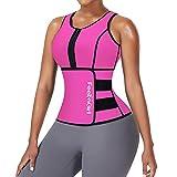 FeelinGirl Zipper Waist Trainer for Women Vest Neoprene Sauna Suit Plus Size Workout Full Body Pink 6XL