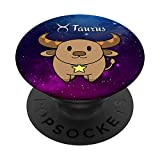 Taurus Horoscope Birthday Anime Zodiac Astrology PopSockets PopGrip: Swappable Grip for Phones & Tablets