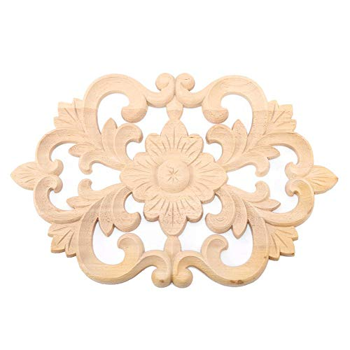 Wood Carved Onlay Applique Unpainted Frame Door Decor European Style Furniture Applique for Home Door Cabinet Decoration(3019CM)