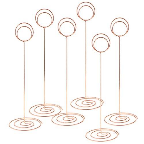 SM SunniMix 6pcs Clip Photo Porte-Carte Clip Mémo Pince Carte Place pour Décoration de Mariage Fête Photo - Or Rose