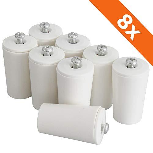 ECENCE Tope amortiguador para persianas set de 8pieza 40mm incl. tornillo Blanco, tope, protección completa para persiana