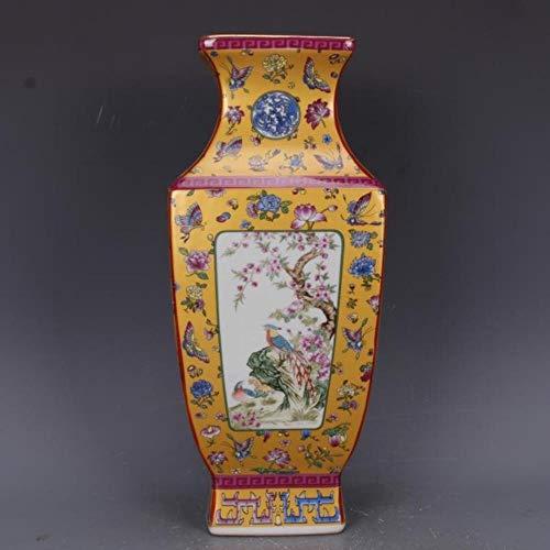 Ethan antieke ambachtelijke porselein met gouden emaille kleurrijke bloemen en vogels vierkante vaas in Qianlong jaar Mark Qing dynastie