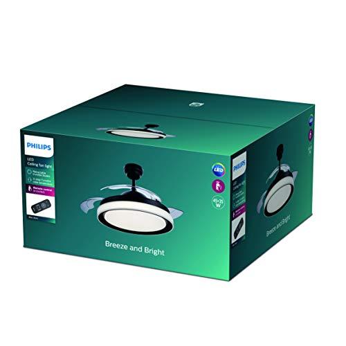 Philips Lighting Bliss Lampada LED da Soffitto con Ventilatore, Telecomando Incluso, Nero