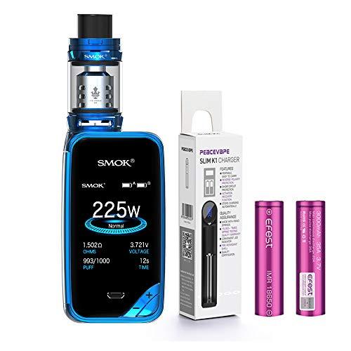 AUTÉNTICO SMOK X PRIV Kit 225W TFV12 PRINCE 2mL Tank Cigarrillo electrónico (Azul) SMOK XPRIV con 2 X EFEST 3000 mAh Batería y cargador de 18650 batería PEACEVAPE™ Sin Tabaco - Sin Nicotina