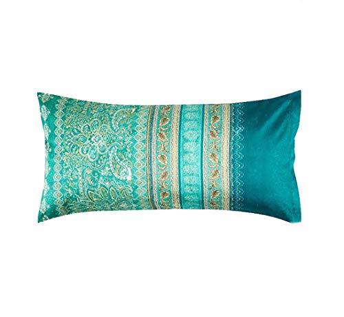 Bassetti Mako-Satin Bettwäsche Matera V1 Kissenbezug einzeln 40 x 80 cm, grün, 9311818