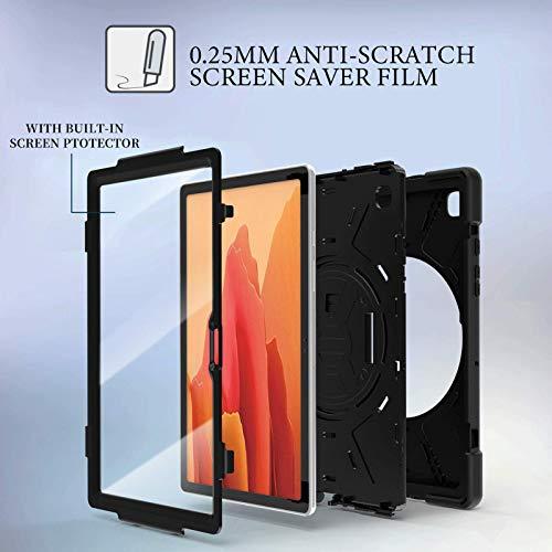 Gerutek Hülle für Samsung Galaxy Tab A7 10.4, Stoßfeste Robust Panzerhülle mit Displayschutzfolie Drehbar Stände, Handschlaufe, Schultergurt Hülle für Samsung Tab A7 10.4 2020 T500/T505/T507, Schwarz