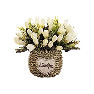 Artificial Flowers Hand-Made Flower Basket Artificial Flowers Home Decoration Suitable for Dining Table Courtyard Home Office Wedding