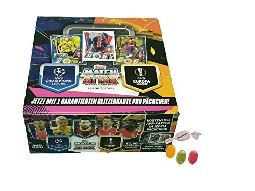 Serie 2 Topps Match Attax Champions L.eague 2020/2021 - 1xDisplay ( je 30 Booster) zusätzlich 1 x Sticker-und-co Fruchtmix Bonbon