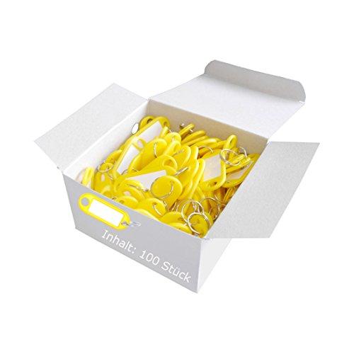 Wedo 262801805 Schlüsselanhänger Kunststoff (mit Ring, auswechselbare Etiketten) 100 Stück, gelb