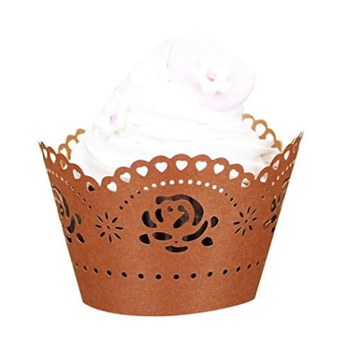 WensLTD 25pc Note Pattern Lace Laser Cut Cupcake Wrapper Liner Baking Cup Muffin (Bronze 2)