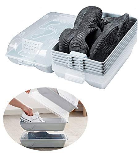 YEAVS - Juego de 6 organizadores de zapatos, zapateros de plástico transparente para armarios y entradas, contenedores apilables, cajas de almacenamiento de zapatos con tapas para zapatillas (azul claro)